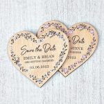 Magnetic Wooden Heart Save The Dates Floral Vinatage Rustic Botanical Wedding