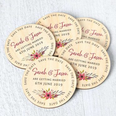 Wooden Floral Magnetic Save The Dates
