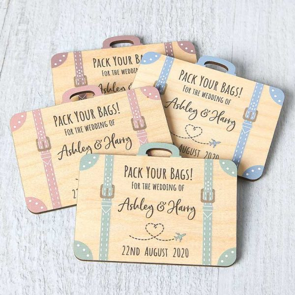 Wooden Suitcase Save The Date Magnets