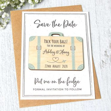 Wooden Save The Date Suitcase Fridge Magnets With Backing Cards, Abroad Destination Travel Theme Passport Wedding Invites