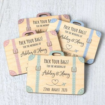 Wooden Save The Date Suitcase Fridge Magnets, Abroad Destination Travel Theme Passport Wedding Invites