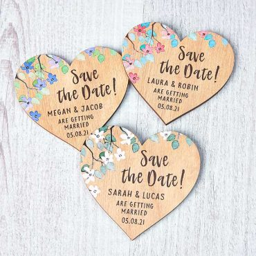 Wooden Heart Save The Date Magnets Floral Vinatage Rustic Botanical Wedding
