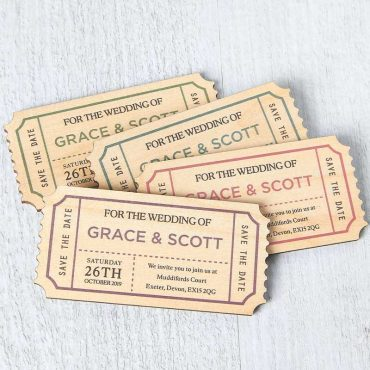 Wooden Save The Date Ticket Magnets, Vintage Novelty Plane Train Wedding Invites