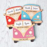 camper van save the date wooden magnets surf beach travel theme
